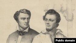 Паўстанцы Міхал Валовіч і Артур Завіша каля шыбеніцы, гравюра М. Ходзькі