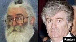 Радаван Караджыч, зьлева - непасрэдна перад арыштам у 2008 годзе ў Бялградзе, справа - на пасяджэньні парлямэнту ў 1995 годзе