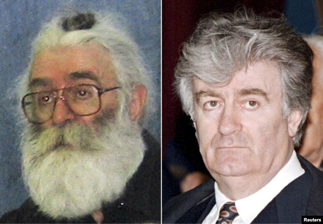 A combo photo shows Radovan Karadzic (left) in a photo taken before his arrest in 2008 in Belgrade, where he was posing as a doctor of alternative medicine, and (right) attending a parliamentary session in February 1995.