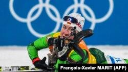 Динара Әлімбекова Пхенчхан олимпиадасында. 22 ақпан 2018 жыл