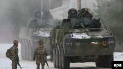 British troops take part in a NATO exercise in Lithuania in December 2016.