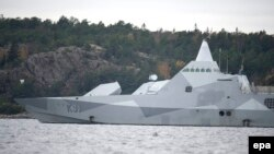 Sweden -- The Swedish corvette HMS Visby under way on the Mysingen Bay, October 21, 2014