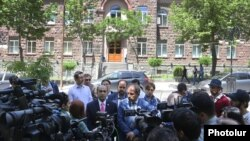 Armenia - Leaders of the opposition Yelk alliance hold a news conference outside the Central Election Commission in Yerevan, 12May2017.