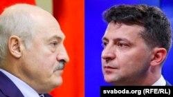 Зліва направо: президент Білорусі Олександр Лукашенко і президент України Володимир Зеленський (комбіноване фото)