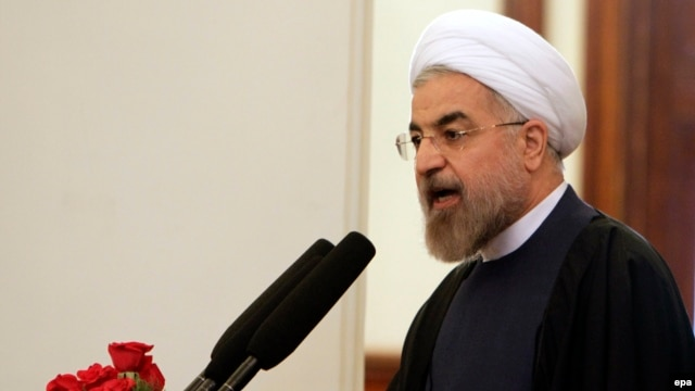 Iranian President Hassan Rohani speaks during a ceremony to mark celebrations of Norouz in Kabul on March 27.