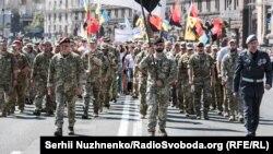 Під час Маршу ветеранів війни України з Росією у День Незалежності України. Київ, 24 серпня 2019 року