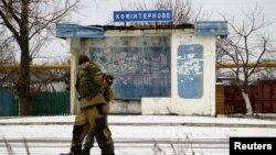 Поддерживаемые Россией сепаратисты самопровозглашенной Донецкой народной республики.