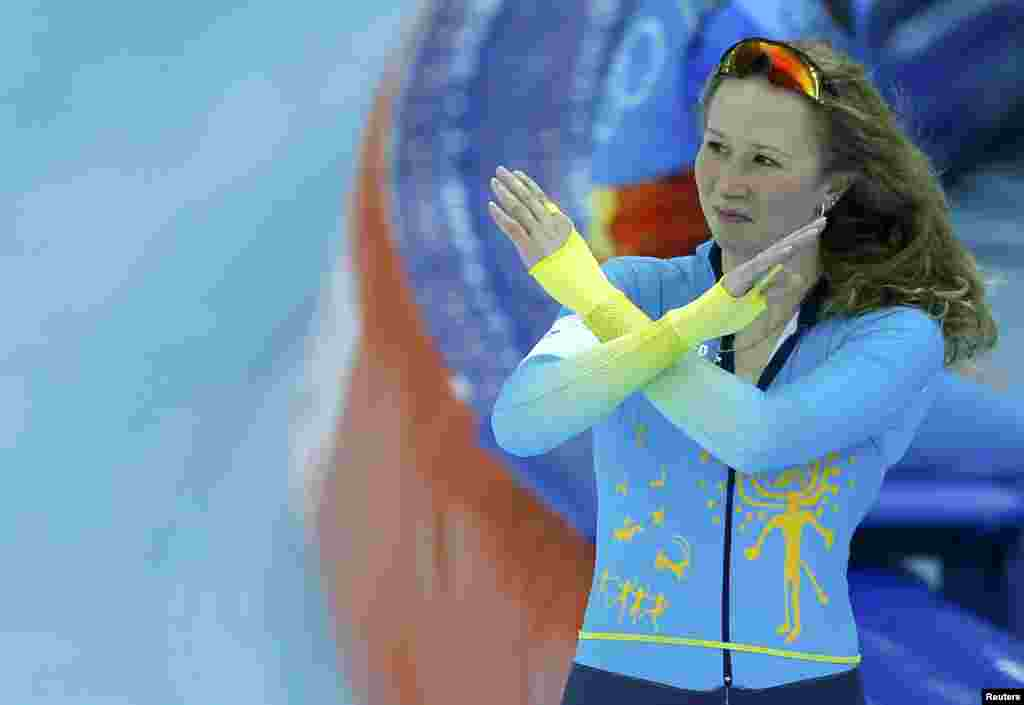 Kazakhstan's Yekaterina Aydova gestures after competing in the women's 1,500-meter speed-skating race at the Adler Arena. (Reuters/Issei Kato)