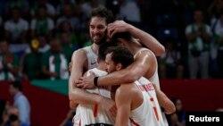 Slavlje španskih igrača posle pobede