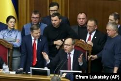 Депутаты Верховной Рады Украины слушают спикера Андрея Парубия на заседании 26 ноября.