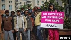 Акция протеста у здания суда в Дели. Иллюстративное фото.