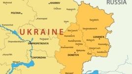 Украина мен оның Донецк және Луганск облыстарының картасы. (Көрнекі сурет)