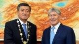 Happier times. Kyrgyz President Sooronbai Jeenbekov (left ) and former President Almazbek Atambaev at the new president's inauguration ceremony at the state residence in Bishkek.
