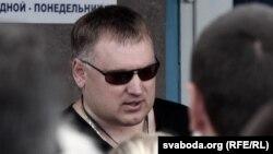 Анатоль Шумчанка падчас страйку прадпрымальнікаў у 2013 годзе