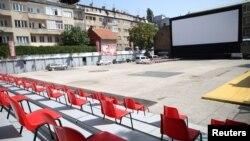 Prazno Open Air kino Metalaca u Sarajevu na dan otvaranja Sarajevo Film Festivala, 14. august 2020.