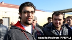Zaur Gurbanli (left) and Uzeyir Mammadov were freed today.