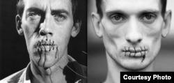 Rəssamlar David Woinarowicz və Petr Pavlensky ağızlarını tikiblər.