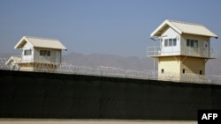 Watchtowers along the perimeter of the Bagram prison (file photo)