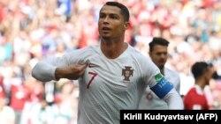 Պորտուգալիայի հավաքականի հարձակվող Կրիշտիանու Ռոնալդուն Մարոկոյի հավաքականին գոլ խփելուց հետո, Մոսկվա, 20-ը հունիսի, 2018թ․