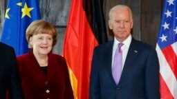 German Chancellor Angela Merkel (left) and U.S. President Joe Biden (file photo from 2015 )