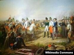Петер Крафт. Победа под Лейпцигом. Александр I, Франц I и Фридрих Вильгельм III. 1839