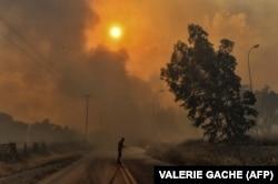 Пожежник гасить вогонь, поблизу Афін 23 липня