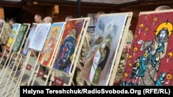 Ukraine -- An artistic action in support of Ukrainian prisoners took place in Lviv, 14Apr2019