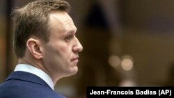 Russian opposition activist Aleksei Navalny stands at the European Court of Human Rights in Strasbourg in January.