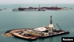 An aerial view shows artificial islands on the Kashagan offshore oil field in the Caspian Sea.