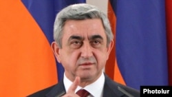 Armenia -- President Serzh Sarkisian delivers a speech.