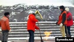 Минскидеги тазалык кызматынан жумушчулары