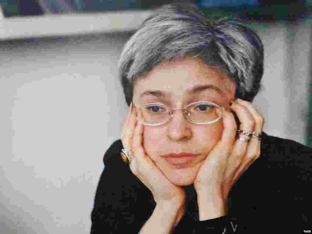 A portrait of Politkovskaya at a photo exhibition in her memory in Moscow in 2007