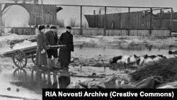 Похороны умерших во время блокады, архивное иллюстрационное фото