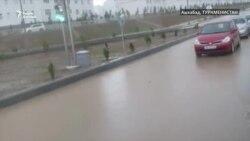 Улицы Ашхабада после сильного ливня