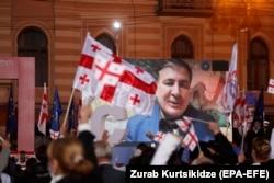 سخنرانی ویدئویی ساکاشویلی در تجمع انتخاباتی هواداران جنبش اتحاد ملی در ۲۹ اکتبر امسال