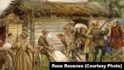 Продразверстка в деревне. Антибольшевистский плакат времен Гражданской войны