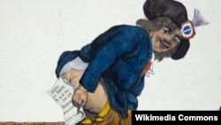 Французская политическая карикатура, 1791 год. В руках республиканца – булла папы Пия VI по поводу Конституции