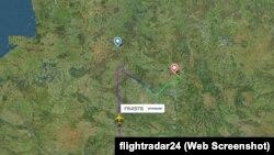 Ryanair әуе компаниясының Афины- Вильнюс рейсінің бұрылған сәті. flightradar сайты, 23 мамыр, 2021