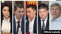 Премьер-министр Садыр Жапаров и вице-премьер-министры Артем Новиков, Максат Мамытканов, Равшан Сабиров и Эльвира Сурабалдиева.