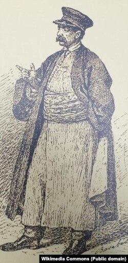 Aga Iancu Filipescu, desen în peniță de Barabás Miklos.