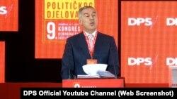 претседател на Демократската партија на социјалистите Мило Djукановиќ зборува на партискиот конгрес, 24 јануари 2021 година
