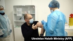 Ukrainian Health Minister Maksym Stepanov receives a Covid-19 vaccine in Kyiv on March 2.