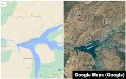 """""""Кемпир-Абад"""" же """"Анжиян"""" суу сактагычынын 2021-жылкы картасы. Google Maps сервисинен эки түрдүү көрүнүшү. Эки өлкөнүн чек арасы сызыгы плотинаны жана сууну кесип өтөт."""