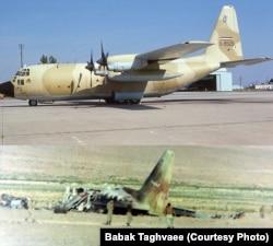 سی-۱۳۰ ئی شماره ۸۵۲۵-۵ پیش از سانحه در سال ۱۳۵۶ (تصویر بالا) و همان هواپیما پس از سانحه در صبح روز هشتم مهر ۱۳۶۰
