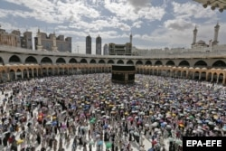 Crowds circle the Kaaba during last year's hajj.