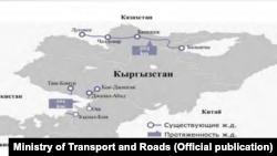 Карта железных дорог Кыргызстана. Источник: Министерство транспорта и дорог.