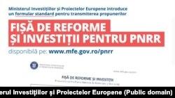 Fișa pentru propuneri de reforme și investiții pentru actualizarea Planului Național de Redresare și Reziliență.