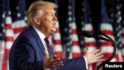 Президент США Дональд Трамп выступает на съезде Республиканской партии. 27 августа 2020 года