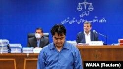 Ruhollah Zam at his trial in Tehran earlier this year.