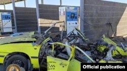 Автомобиль NEXIA взорвался на заправке (фото УВД Кашкадарьинской области)